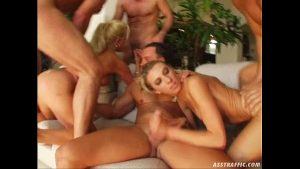 Image Ass Traffic Four guys double penetrate two big tittied blondes